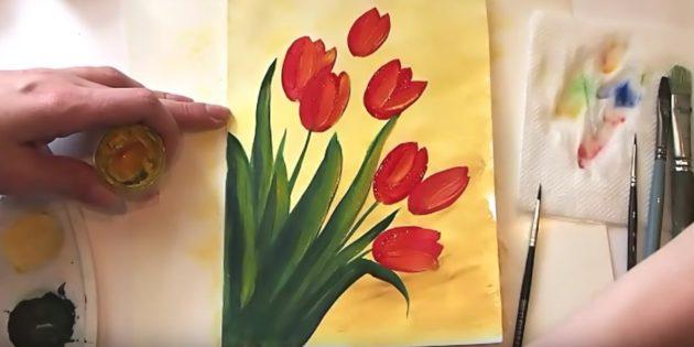 Как нарисовать букет тюльпанов: добавьте жёлтый цвет