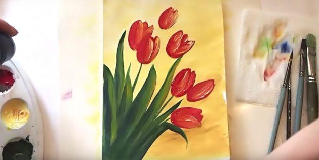 Как нарисовать букет тюльпанов: выделите лепестки