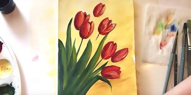 Как нарисовать букет тюльпанов: добавьте бордовый цвет