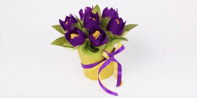 Как сделать букет тюльпанов из конфет