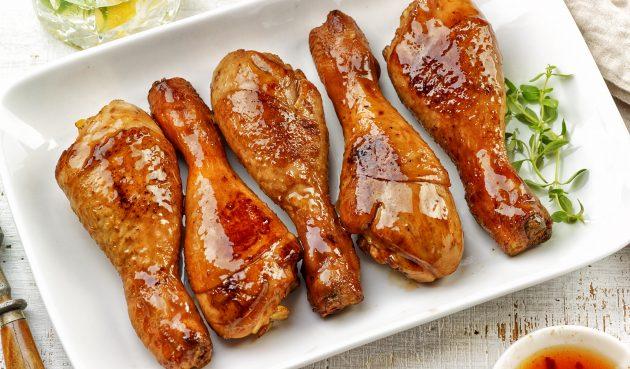Запечённые куриные голени в медово-лимонном соусе