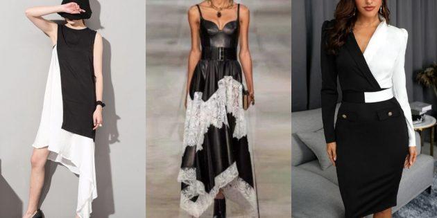 Модные платья лета-2020: чёрно-белые платья