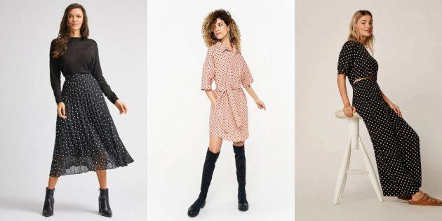 Женская мода весны-лета 2020: ткани в горошек