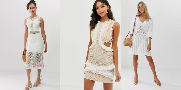Модные платья весны-лета 2020: вязаные крючком платья
