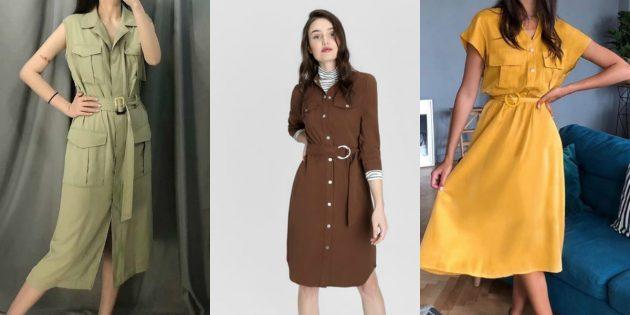 Модные платья весны-лета 2020: платья в сафари-стиле с большим количеством карманов