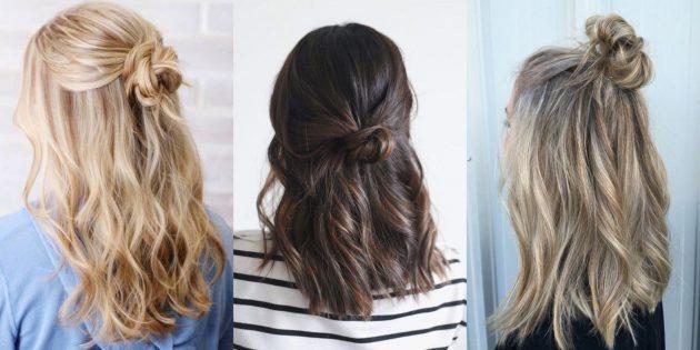 Причёска пучок: пучок с распущенными волосами