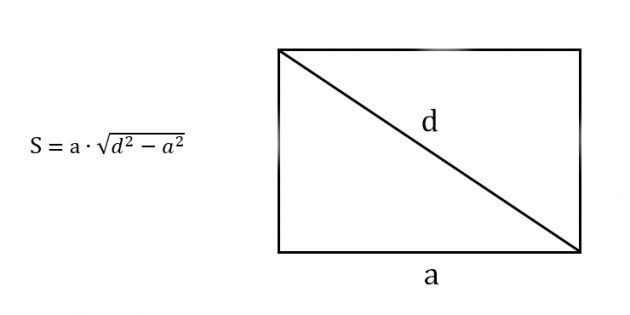 Как найти площадь прямоугольника, зная любую сторону и диагональ