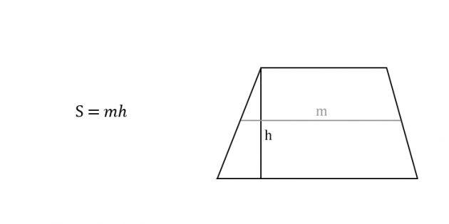 Как вычислить площадь трапеции через высоту и среднюю линию