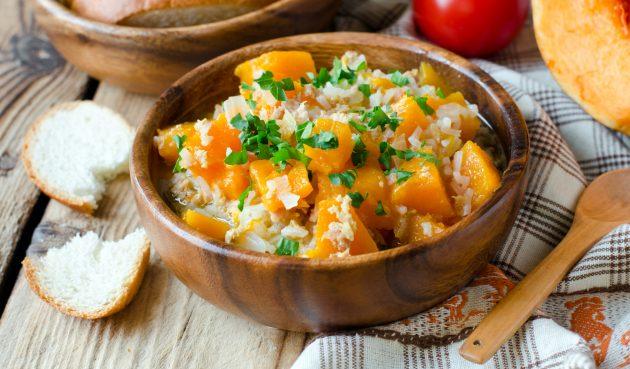 Рис с курицей и тыквой в духовке