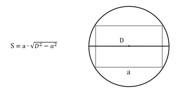 Как найти площадь прямоугольника, зная любую сторону и диаметр описанной окружности