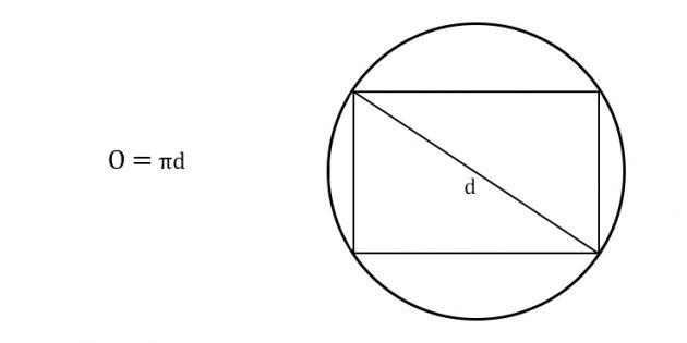 Как найти длину окружности через диагональ вписанного прямоугольника