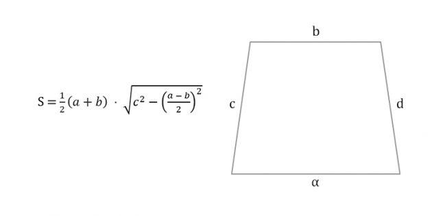 Как вычислить площадь равнобедренной трапеции через четыре стороны