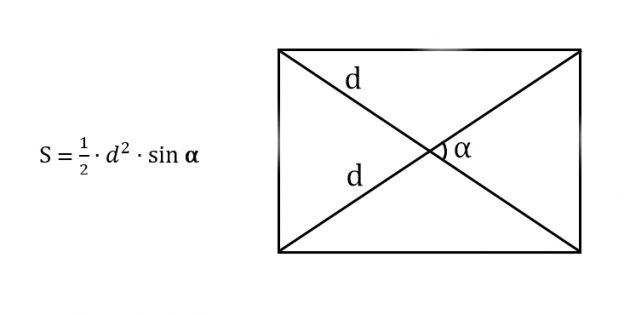 Как найти площадь прямоугольника, зная диагональ и угол между диагоналями