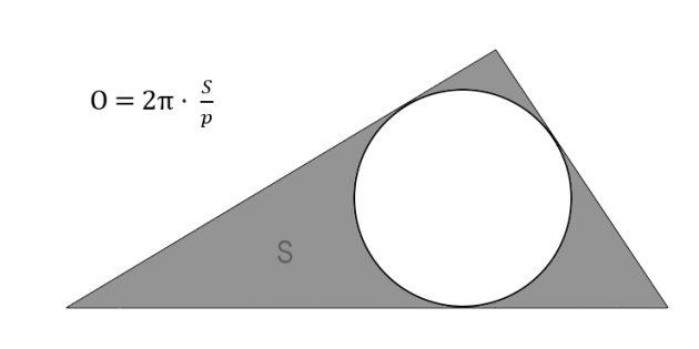 Как найти длину окружности через площадь и полупериметр описанного треугольника