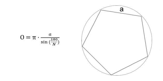 Как вычислить длину окружности через сторону вписанного правильного многоугольника