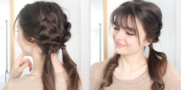 Причёска с чёлкой, колосками наоборот и хвостиками