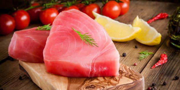 Продукты, содержащие йод: тунец