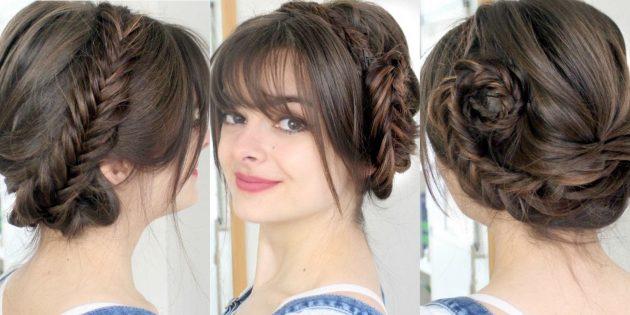 Французская коса, заплетённая вокруг головы