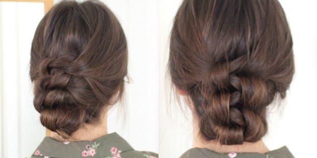 Высокая причёска с чёлкой и узелками