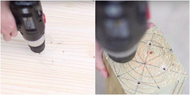 Как сделать когтеточку: просверлите отверстия