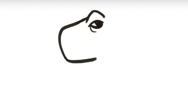 Как нарисовать динозавра: нарисуйте бровь и глаз