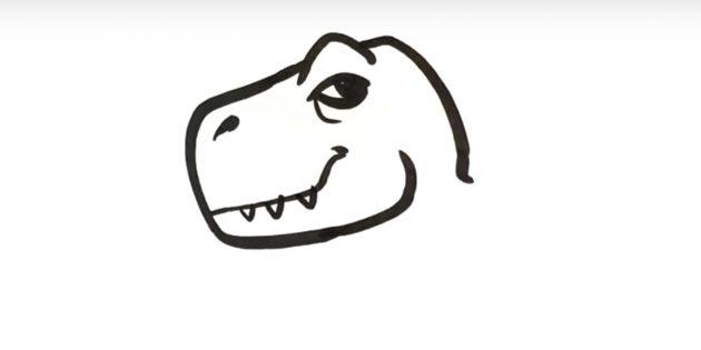 Как нарисовать динозавра: дорисуйте голову