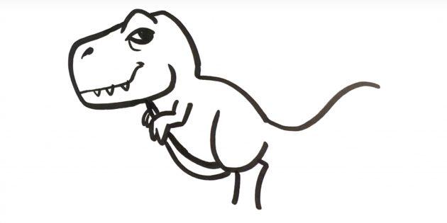 Как нарисовать тираннозавра: дорисуйте брюшко и часть лапы