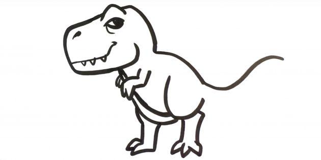 Как нарисовать тираннозавра: нарисуйте задние лапы