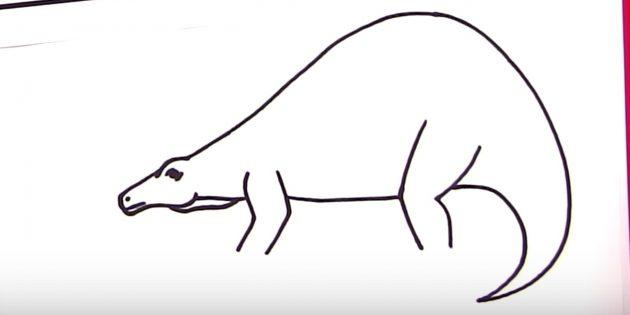 Как нарисовать стегозавра: дорисуйте спину и хвост