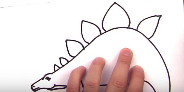Нарисуйте пластины на спине динозавра