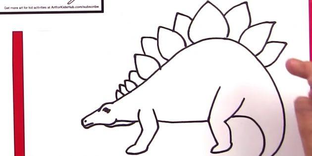 Как нарисовать стегозавра: дорисуйте лапы и пластины