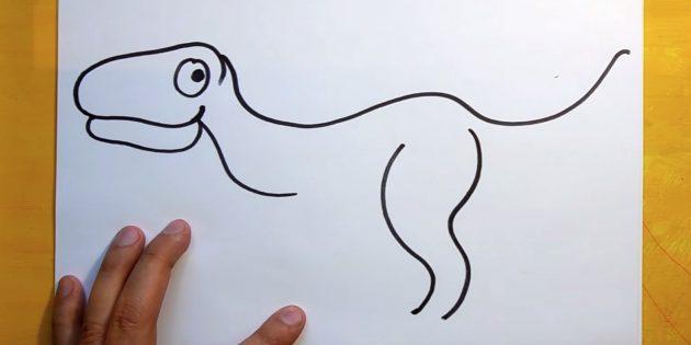 Как рисовать динозавра: нарисуйте очертание лапы