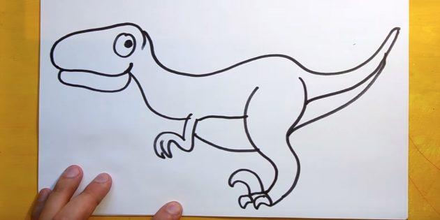 Нарисуйте переднюю лапу и брюшко динозавра