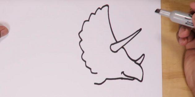 Как нарисовать трицератопса: нарисуйте пасть