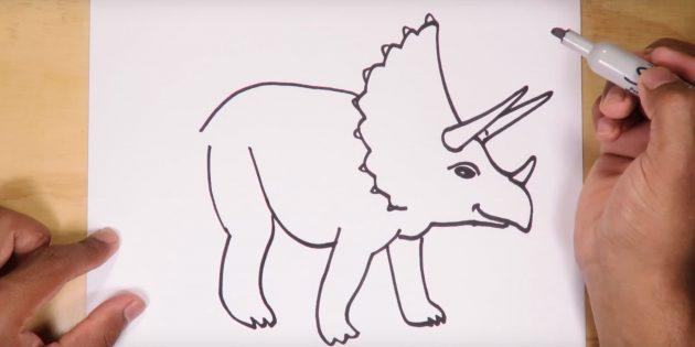 Как нарисовать динозавра: изобразите спину, брюшко и ногу