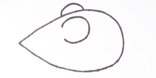 Как нарисовать мышку: нарисуйте ушки