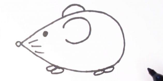 Как нарисовать мышку: нарисуйте лапки
