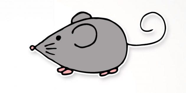 Как нарисовать простую мышку