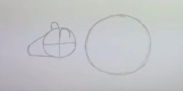 Как нарисовать мышь: наметьте мордочку и уши