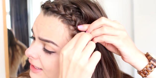Женские причёски с чёлкой: закрепите косу резинкой