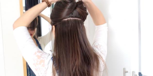 Женские причёски с чёлкой: отделите верхнюю половину волос