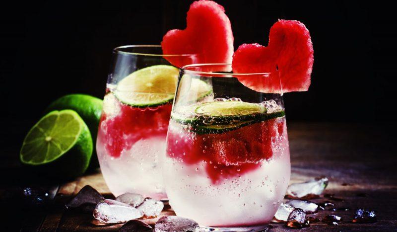 Лимонад с арбузными сердечками
