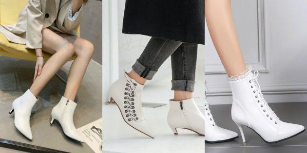 Модная женская обувь весны 2020 года: Ярко-белые полусапожки