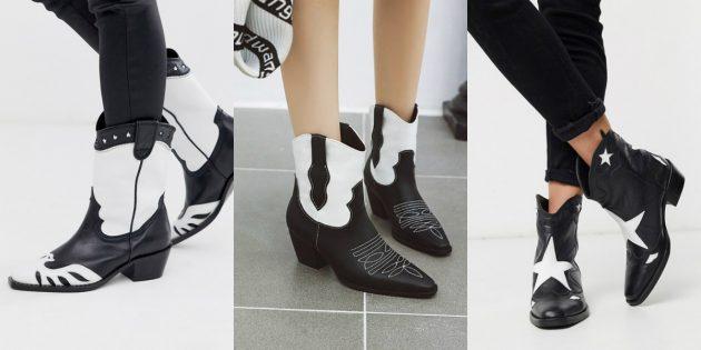 Модная женская обувь весны 2020 года: Чёрно-белые ковбойские сапоги