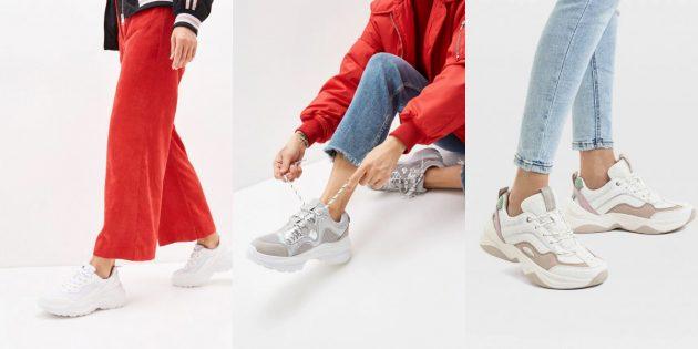 Модная женская обувь весны-лета 2020 года: Массивные белые кроссовки