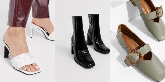 Модная женская обувь с квадратным носком