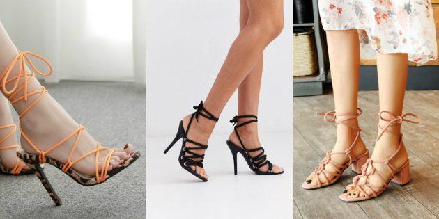 Модная женская обувь лета 2020 года: Босоножки на шнуровке