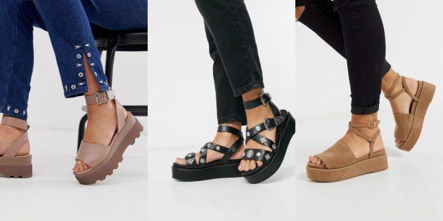 Модная женская обувь лета 2020 года: Сандалии на массивной платформе