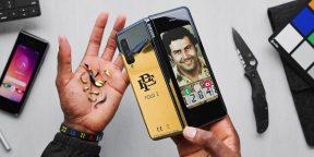 Складной смартфон от брата Пабло Эскобара — всего лишь Galaxy Fold в золотой плёнке