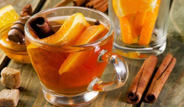 Чёрный чай с апельсином, корицей, гвоздикой и имбирём